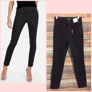 Express embellished high rise skinny jeans